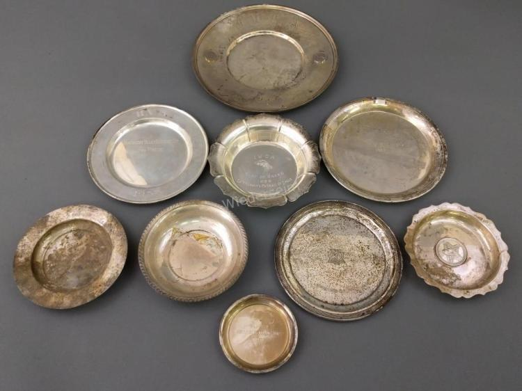 Nine Sterling Silver Dishes