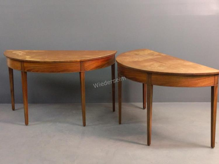 Pair of Hepplewhite Style Mahogany Demilune Tables
