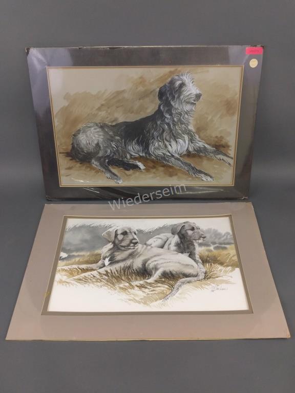 Two Watercolors of Dogs by Martha Van Loan