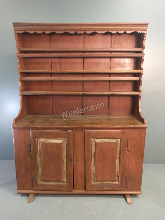 Lancaster County Painted Pine Pewter Cupboard
