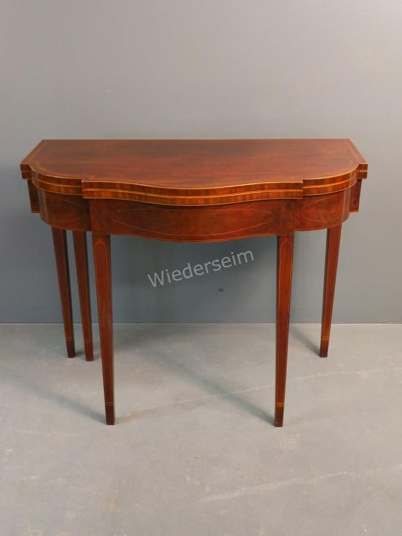 N.Y. Hepplewhite Inlaid Mahogany Card Table