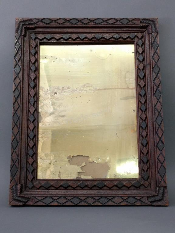 Early Folk Art Carved Frame with Mirror