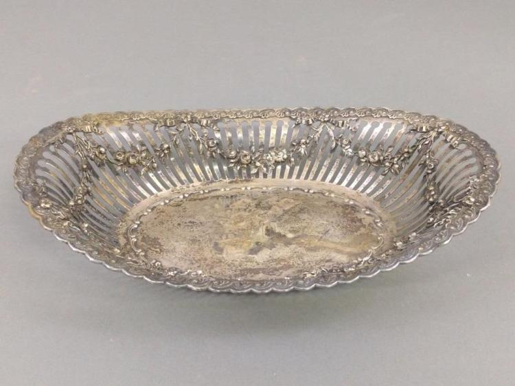 Sterling Silver Oval Beaded Tray