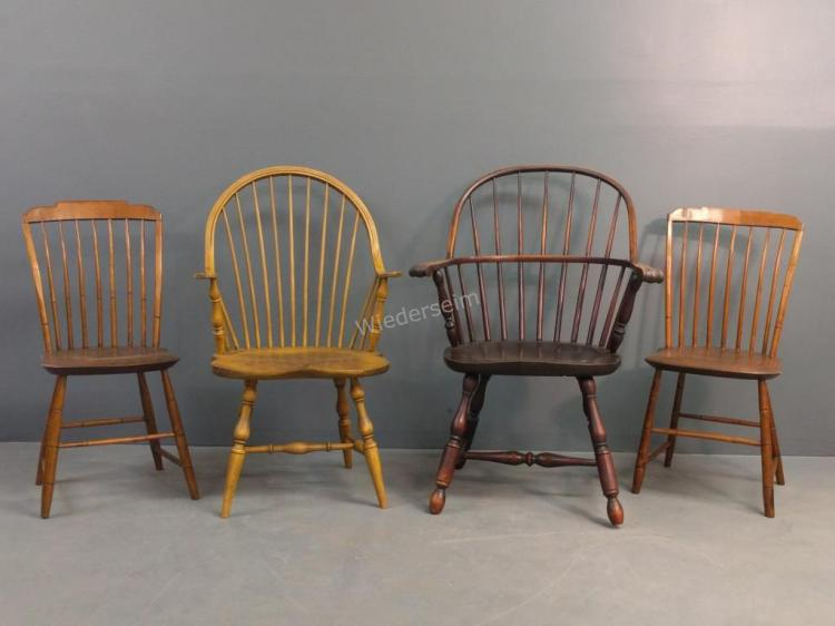 Two Windsor Style Armchairs Etc