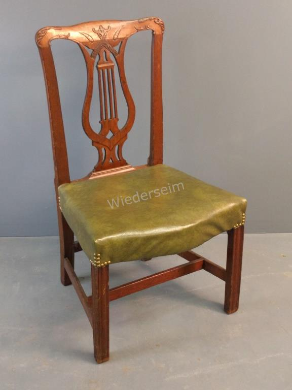 English Chippendale Yew Wood Side Chair