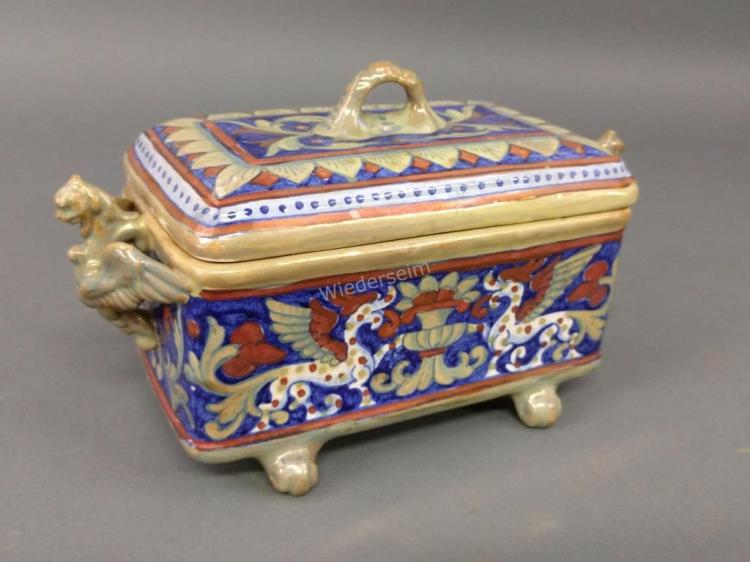 Italian Lusterware Box with Griffin-form Handles