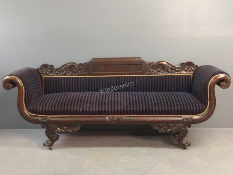 Ornately Carved Empire Mahogany Sofa
