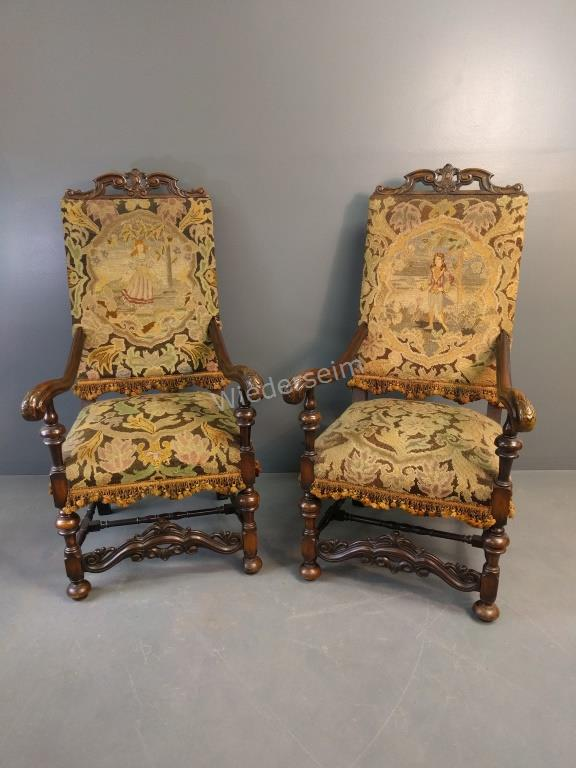 Pair of Jacobean Style Walnut Armchairs