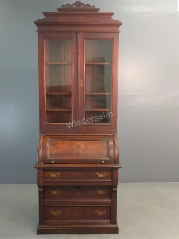 Victorian Walnut Cylinder Roll-top Secretary
