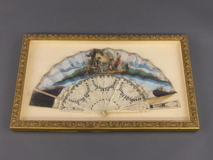 Frame Fan with Painted Figures