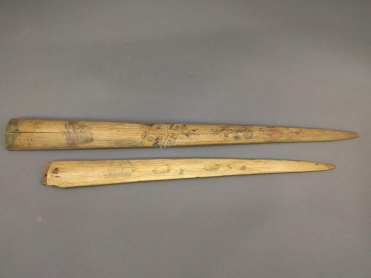 Two Scrimshaw Swordfish Tusks