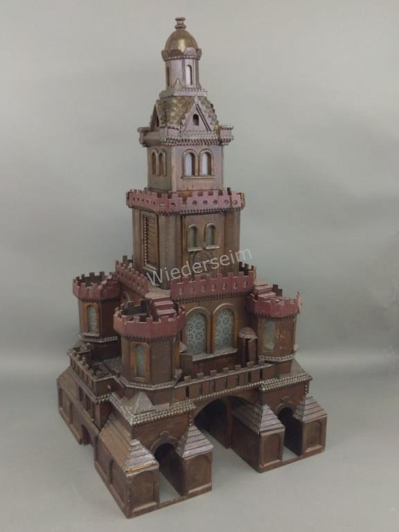 Continental Tramp Art Carved Mahogany Castle