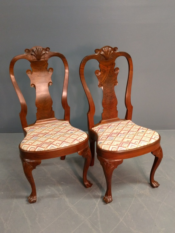 Queen Anne style Walnut side chairs