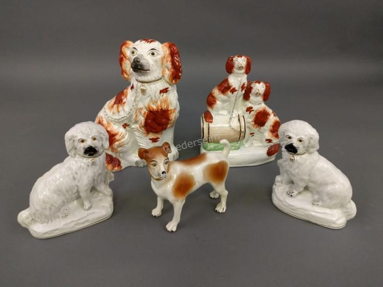 Five Staffordshire Dogs