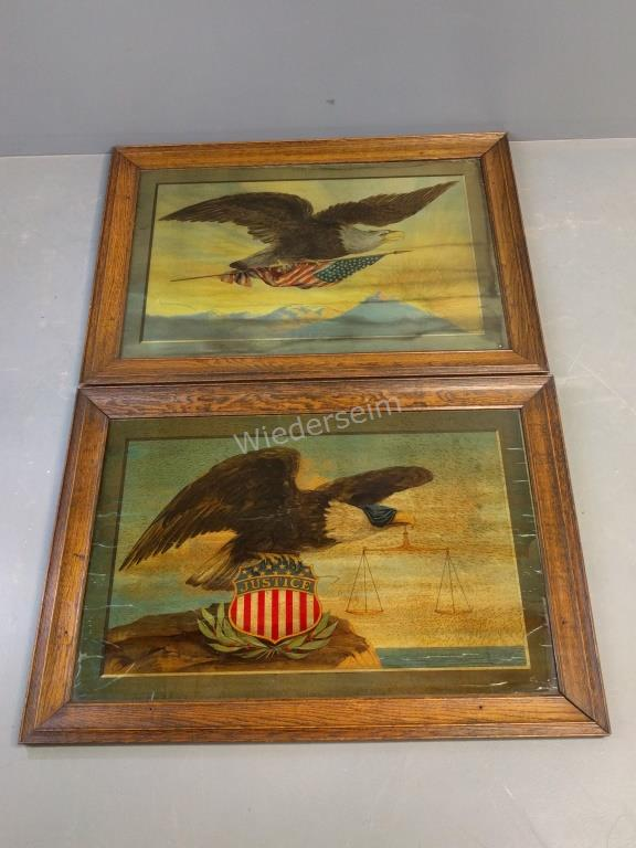 Two American Eagle Prints on Glass