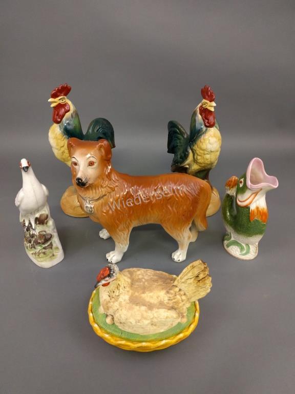 Pair of Ceramic Roosters