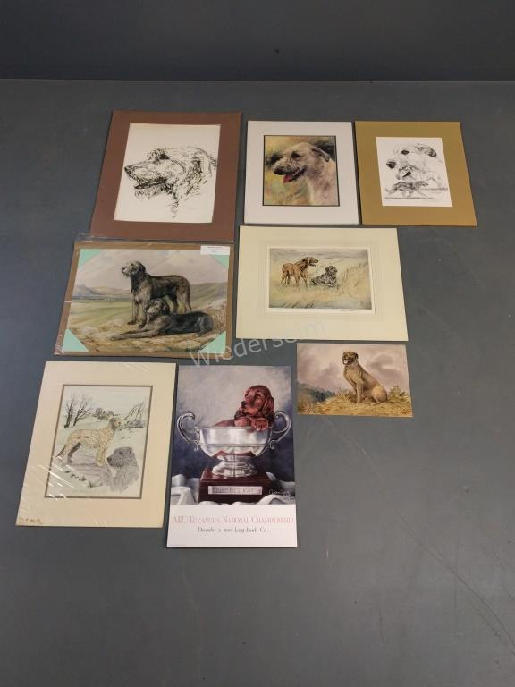 Seven Irish Wolfhound Prints and a Poster