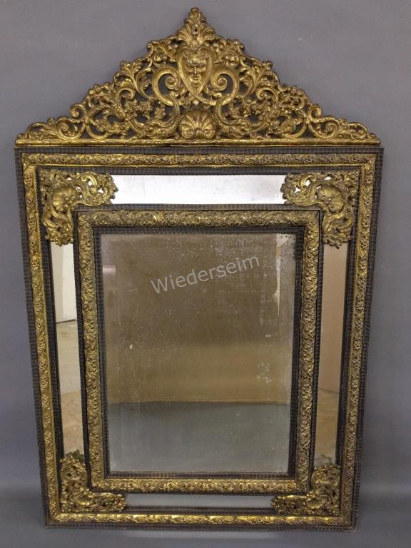 17th century style mirror with brass mounts for 17th century mirrors