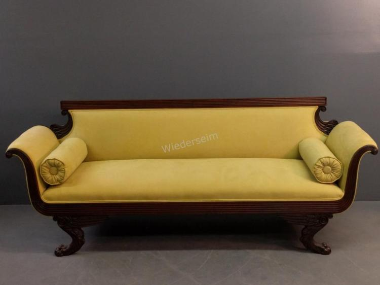 Grecian Style Mahogany Empire Sofa