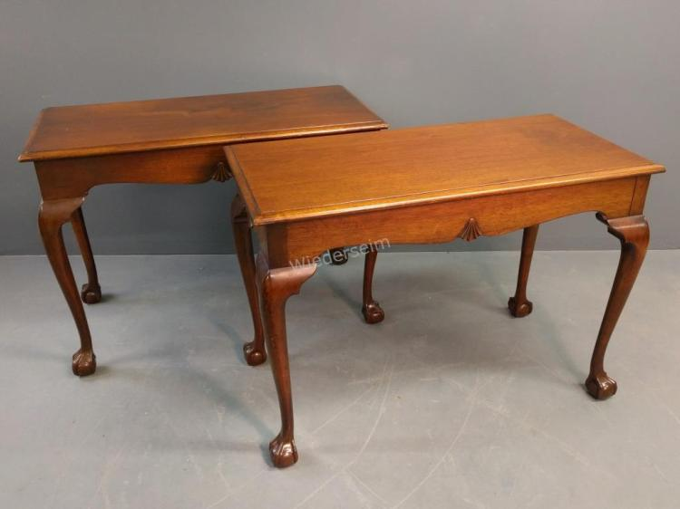 Pair of Chippendale Style Mahogany Console Tables