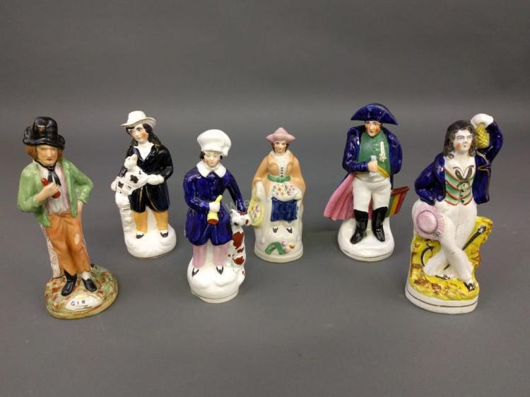 Six Staffordshire Figures