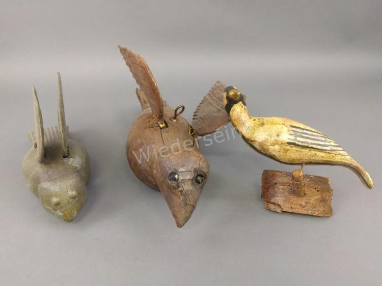 Three Continental Carved Birds