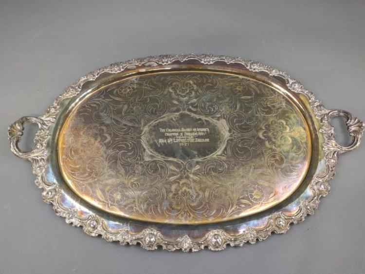Large Silver Plate Oval Serving Tray