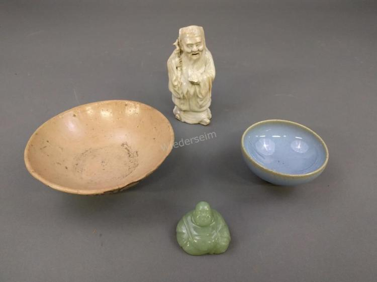Jade Buddha with Three Pieces of Earthenware