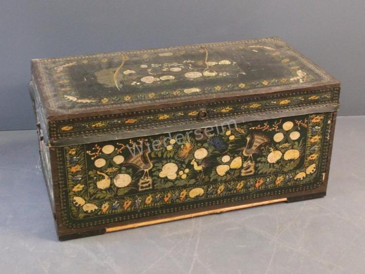 Chinese Painted Camphor Wood Trunk