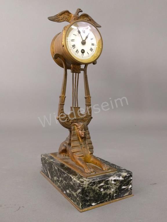 Egyptian Revival Bronze Clock