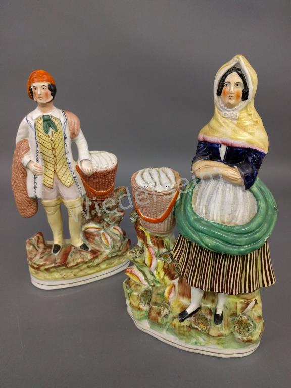 Pair of Staffordshire Fishmonger Figures
