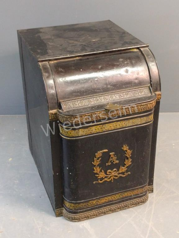 Black Painted Metal Coal Bin