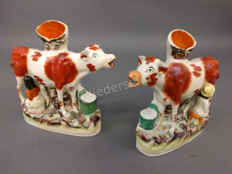 Pair of Staffordshire Cow Spill Vases
