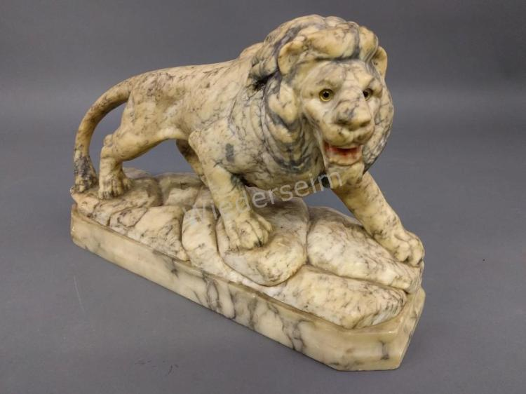 Carved Marble Lion