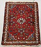 Persian oriental mat with red field, floral patterns and center medallion. 3'2