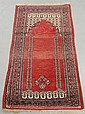 Persian prayer rug with red field. 4'2