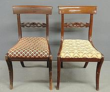 Pair of Philadelphia mahogany saber-leg side chairs, c.1820, with acanthus carved horizontal splats, from the Estate of Juliana Todd, Cape May, NJ, and through the Philadelphia Bancker/Cadwalader families. 32