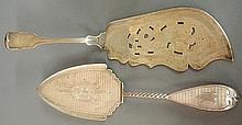 Two English silver serving pieces- fish slice with engraved serpent 12
