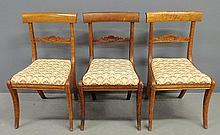 Set of three curly maple saber-leg side chairs, c.1820, with shell carved horizontal splats, from the Estate of Juliana Todd, Cape May, NJ, and through the Philadelphia Bancker/Cadwalader families. 33