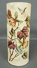 Victorian ceramic umbrella stand with floral and butterfly decoration. 22.5