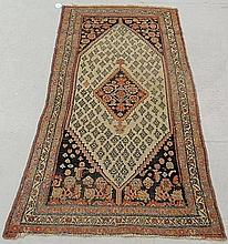 Hamadan oriental hall runner with an ivory field and center medallion. 3'5