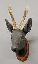 Black Forest carved stag head, late 19th c., with glass eyes. 20