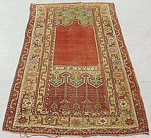 Colorful Turkish oriental prayer carpet with a red field and stylized flowers. 6'6