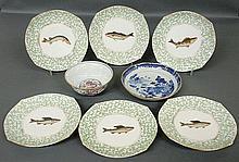Set of six Limoges porcelain fish plates 9