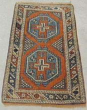 Colorful Caucasian oriental mat with two geometric medallions. 4'8