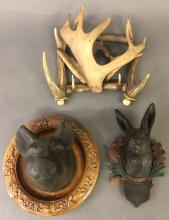 Animal Carvings and Horn Rack