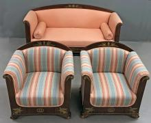 Empire Revival Mahogany Settee and Chairs