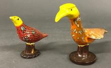 Two Colorful Ceramic Birds