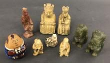 Three Signed Netsuke and Six Small Figures