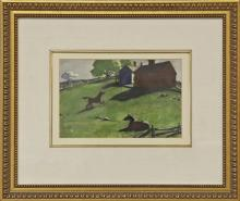 """AIDEN LASSELL RIPLEY """"TWO HORSES IN SPRING FARM"""""""